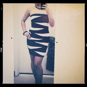 Sexy Strapless Black & White Bodycon Dress